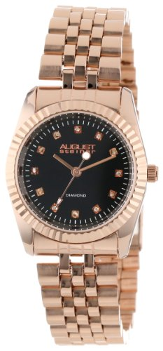 August Steiner Damen 31mm Rotgold Edelstahl Armband Metall Gehaeuse Uhr AS8046RG