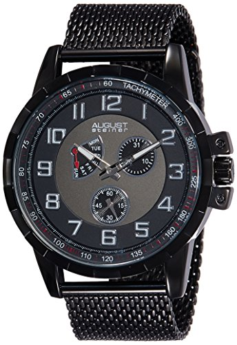 August Steiner Herren Armbanduhr AS8202BK Analog Quarz