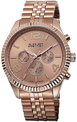 August Steiner Herren Swiss Quarz Multifunktions rose tone Edelstahl Armband Armbanduhr