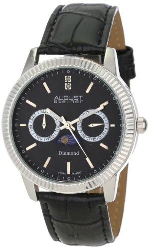 August Steiner Herren Swiss Quarz Multifunktions Diamant Leder Armbanduhr