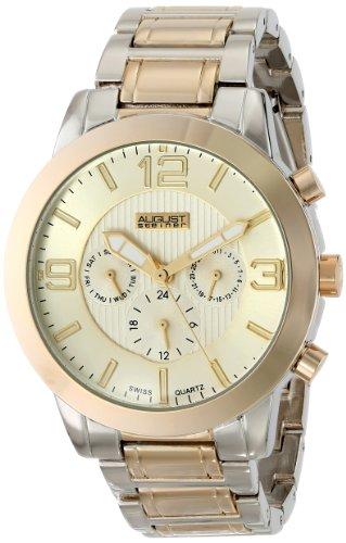 August Steiner Herren Swiss Quarz Multifunktions goldfarbene Zifferblatt bicolor Armband Armbanduhr