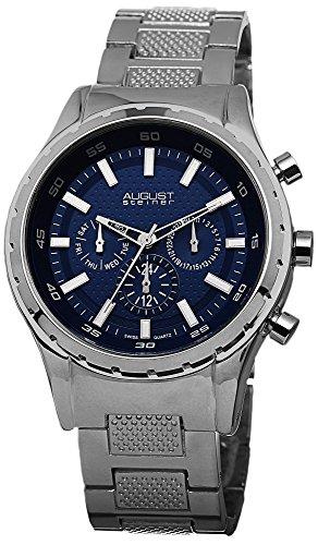 August Steiner Herren Swiss Quarz Multifunktions Blau Zifferblatt silberfarbenes Armband Armbanduhr