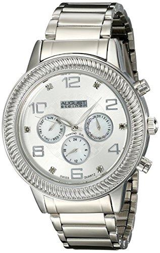 August Steiner Herren Swiss Quarz Multifunktions Diamant Perlmutt silberfarbenes Armband Armbanduhr