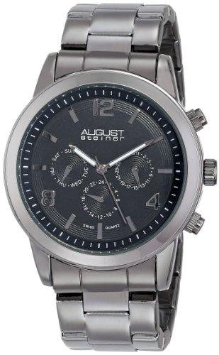 August Steiner Herren Swiss Quarz Multifunktions Schwarz Zifferblatt Gun Armband Armbanduhr