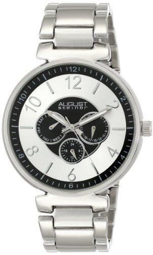 August Steiner Herren Quarz Multifunktions silberfarbenes Armband Armbanduhr