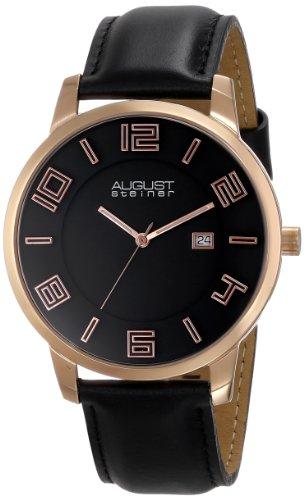 August Steiner Herren Slim Swiss Quarz rose tone Edelstahl schwarz Lederband Armbanduhr