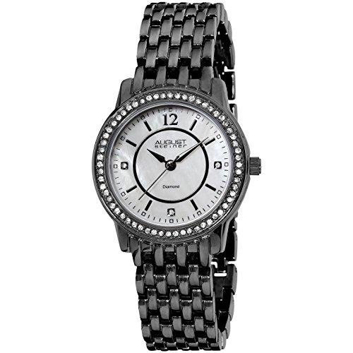August Steiner Damen 32 5mm Schwarz Metall Armband Metall Gehaeuse Uhr AS8027BK