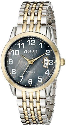 August Steiner Herren Automatik Uhr mit Perlmutt Zifferblatt Analog Anzeige und zweifarbigem Armband Legierung as8026ttg