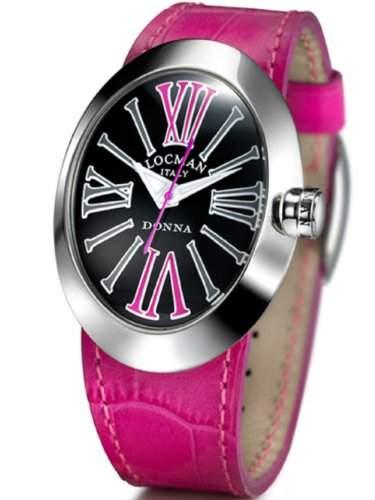 LOCMAN Damen-Armbanduhr XS Donna Analog Quarz Leder 041000BKFXAGPSF-K-A