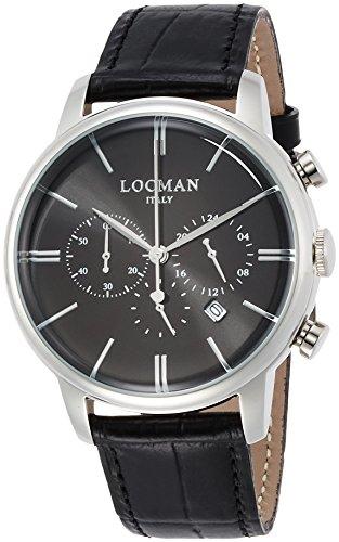 Locman 1960 Dolce Vita Uhr Herren Zifferblatt schwarz Gehaeuse Stahl Armband Leder Schwarz