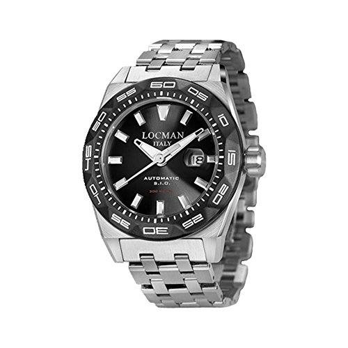 Locman 46mm Armband Edelstahl Gehaeuse Automatik Zifferblatt Schwarz 0215V1 0KBKNKBR0