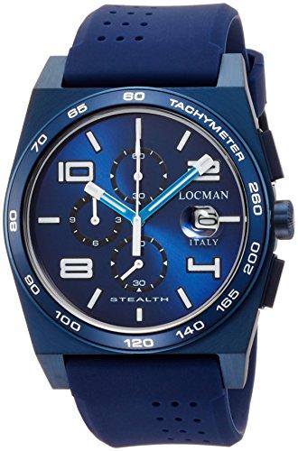 Locman Herren Armbanduhr 43mm Armband Kautschuk Blau Gehaeuse Edelstahl Batterie Analog 0209BLBBLWHWSIB