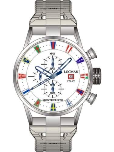 "Locman Herren-Armbanduhr mit Chronograph ""Montecristo"" Italian Yacht Clubs 051000WHFLAGBR0"