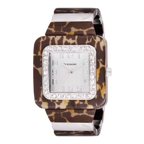 Vernier Damen VNR11074 Tortoise Look Bangle Quartz Armbanduhr