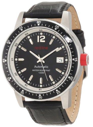 Red Line Meter Herren 45mm Automatikwerk Leder Armband Datum Uhr 50013 11 BK