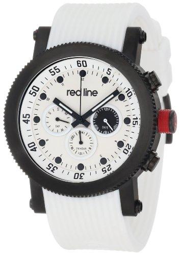 Red Line Compressor Herren 45mm Weiss Silizium Armband Uhr 18101 02 BB WHT ST