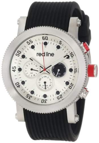 Red Line Herren-Armbanduhr Armband Silikon Schwarz Gehäuse Edelstahl Schweizer Quarz Analog RL-18101-02