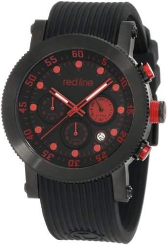 Red Line Compressor Herren 45mm Chronograph Schwarz Armband Uhr 18101VD-01RD2-BB
