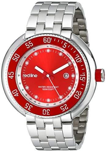 RED LINE HERREN 50MM SILBER EDELSTAHL ARMBAND & GEHAEUSE DATUM UHR 50039-55