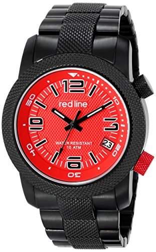 Red Line Herren 44mm Edelstahl, Ionenbeschichtet Gehaeuse Datum Uhr 50043-BB-55