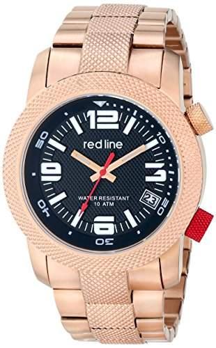 RED LINE HERREN 44MM ROTGOLD EDELSTAHL ARMBAND & GEHAEUSE DATUM UHR 50043-RG-11