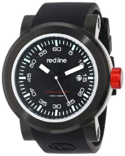 red line Herren RL-50049-BB-01 Torque Sport Black Dial Silicone Band Armbanduhr