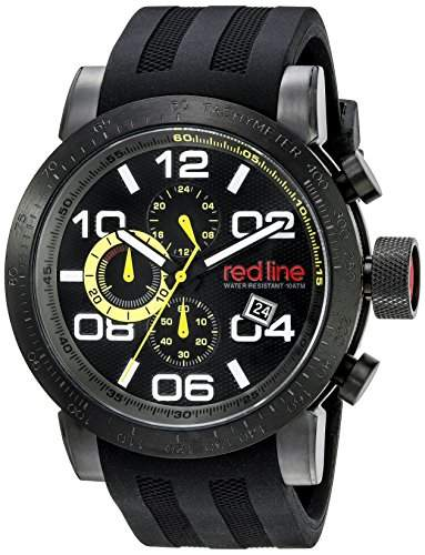 Red Line Night Rally Herren-Armbanduhr 48mm Chronograph Armband Silikon Schwarz Quarz 50068-BB-01-YEL