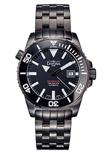 Swiss Made DAVOSA Men´s Diver 300m Automatic Gun Metal PVD ModNo16149880 16149880