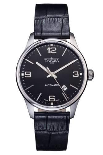 Davosa Herren-Armbanduhr gentlemans automatic Analog Automatik Leder Schwarz 16151054