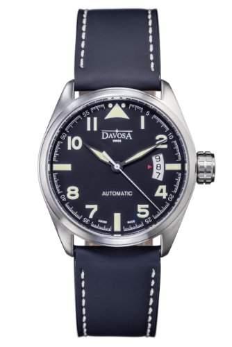 Davosa Herren-Armbanduhr military Automatic Analog Automatik Leder Schwarz 16151154