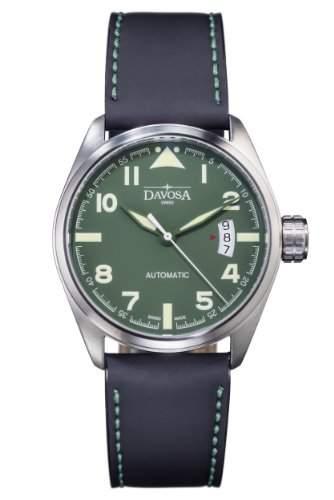 Davosa Herren-Armbanduhr military Automatic Analog Automatik Leder Schwarz 16151174