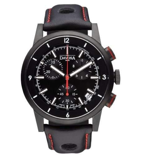Davosa Herren-Armbanduhr Rallye Chronograph Analog Quarz Leder schwarz 16247655