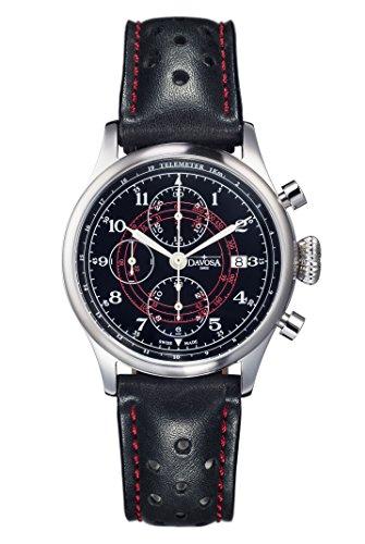 Davosa Vintage Rallye Pilot Herren Automatik Uhr mit schwarzem Zifferblatt Analog Anzeige und schwarz Lederband 16100856