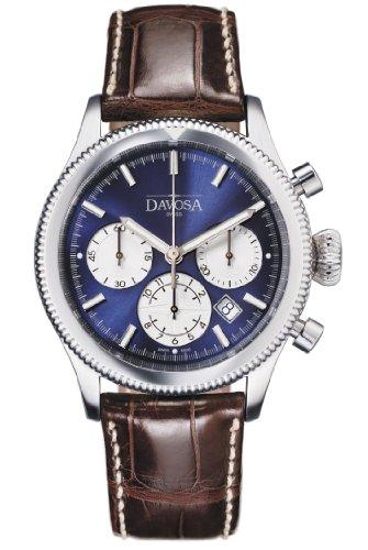 Davosa Herren Automatik Uhr mit blauem Zifferblatt Chronograph Anzeige und braunem Lederband 16100645