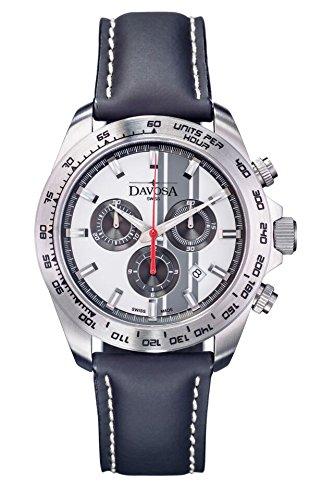 Davosa Herren Armbanduhr Speedline TX Chrono Chronograph Leder Schwarz 16248815