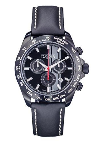 Davosa Herren Armbanduhr Speedline TX Chrono Chronograph Leder Schwarz 16248855