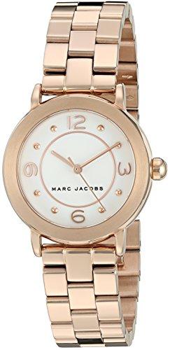 Marc Jacobs Damen Armbanduhr Armband Goldfarbenes Edelstahl Gehaeuse Quarz Zifferblatt Weiss MJ3474