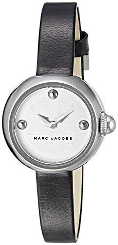 Marc Jacobs Damen Armbanduhr Armband Leder Schwarz Gehaeuse Edelstahl Quarz Zifferblatt Silber MJ1430