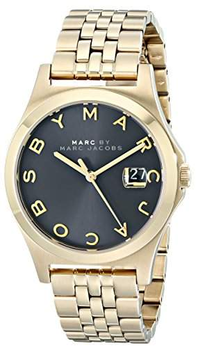Marc Jacobs The Slim Watch Damen-Armbanduhr 36mm Armband Edelstahl Gold Gehäuse + Batterie Analog MBM3315