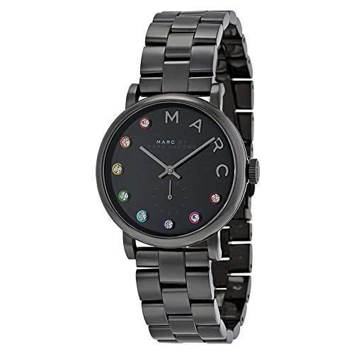 Marc Jacobs Damen-Armbanduhr Armband Edelstahl Schwarz + Gehaeuse Quarz Analog MBM3422