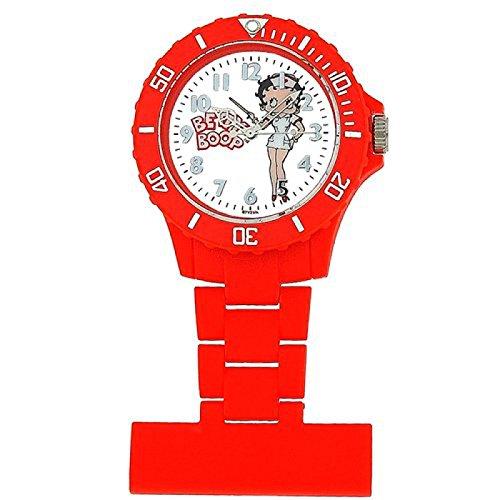 BETTY BOOP Rote Schwesternuhr mit weissem bebildertem Ziffernblatt und Metallband BTY031A