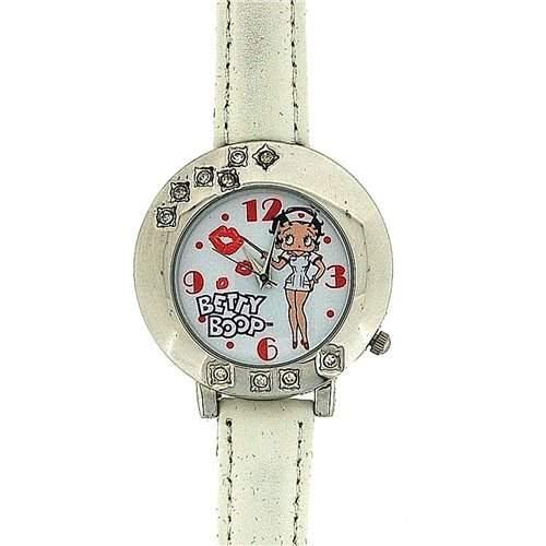 BETTY BOOP Limited Edition Damen-Maedchen Armbanduhr mit bebildertem Ziffernblatt und weissem PU-Armband BTY27A