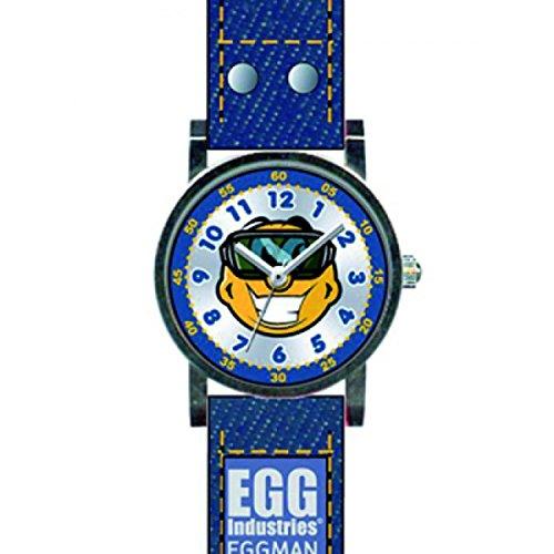 Egg DDP 4042803 Armbanduhr Kinder Quarz Analog Ziffernblatt Armband Leder Blau