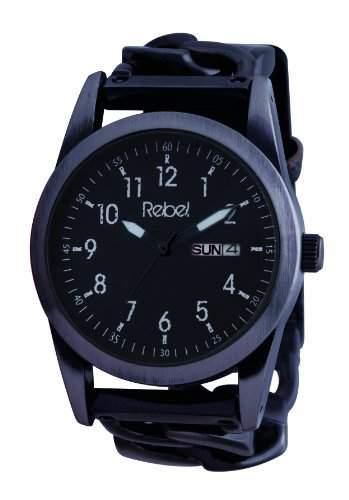 Rebel Herren-Armbanduhr Analog Formgehaeuse schwarz REB1003