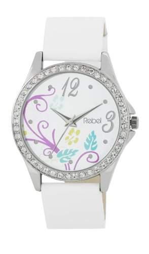 REBEL Damen Armbanduhr mit weissem Ziffernblatt in Blumendesign, Diamanten besetzter Luenette und weissem PU-Armband 2019