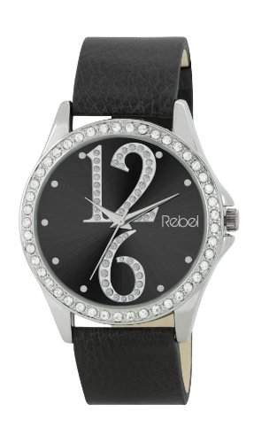 Rebel Damen-Armbanduhr Analog Quarz Kunststoff schwarz REB2021