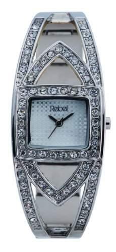 Rebel Damen-Armbanduhr Analog Formgehaeuse Silber REB4001