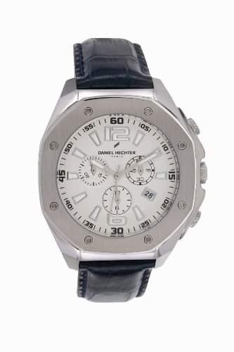 Daniel Hechter-Holzspalter DHH 018FG-Herren Uhr-Quarz analog Leder Blau