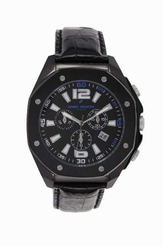 Daniel Hechter-Holzspalter DHH 0183AA Herren-Armbanduhr Anastasie Quarz analog Leder Schwarz