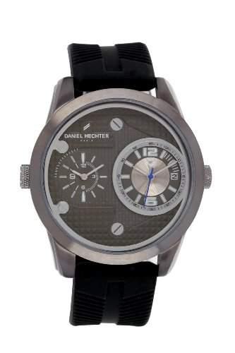 Daniel Hechter-Holzspalter DHH 0123CA Herren-Armbanduhr Regate Quarz analog Silikon, Schwarz